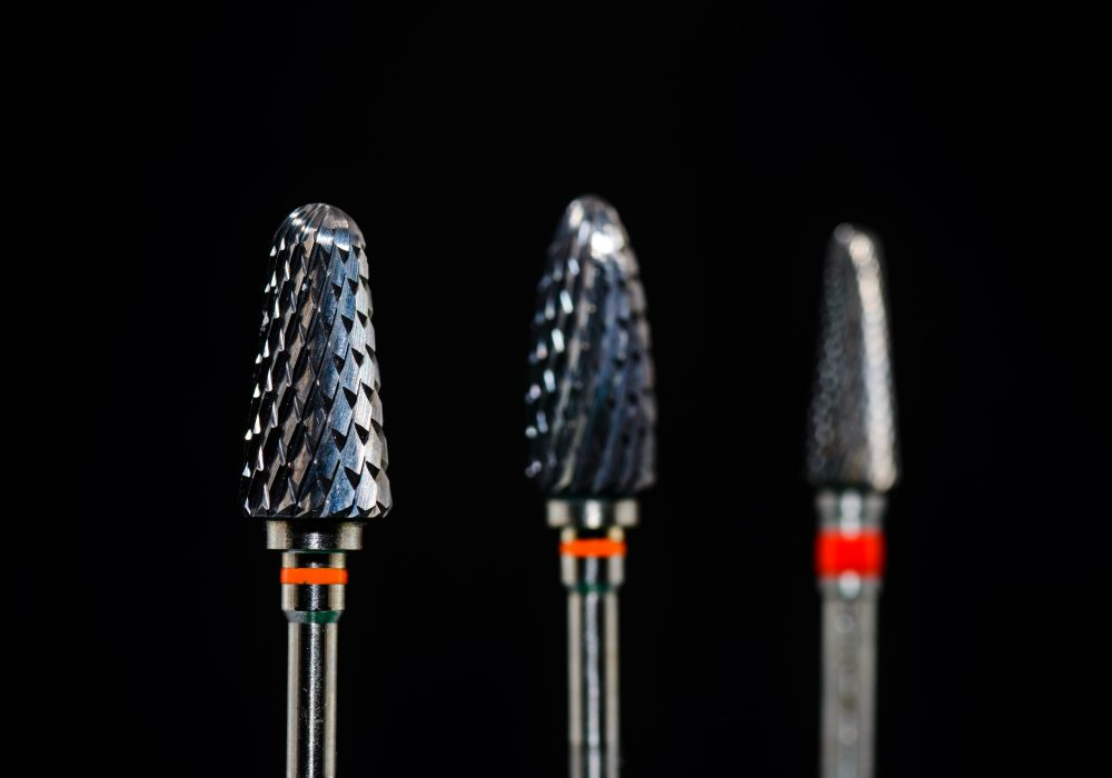 Closeup of Carbide burs - Dental equipment